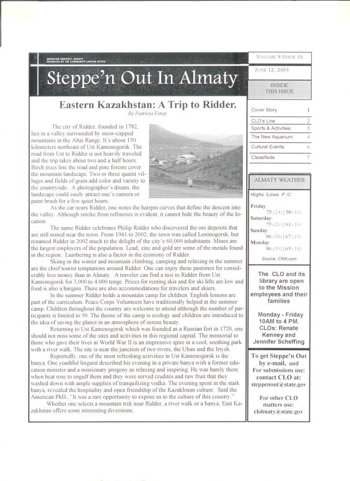 Steppe'n Out in Almaty - June 12, 2003 - A Trip to Ridder